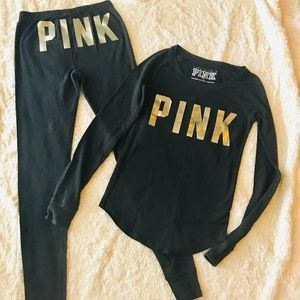 PINK Victorias Secret 2 Piece Black & Gold Pajamas